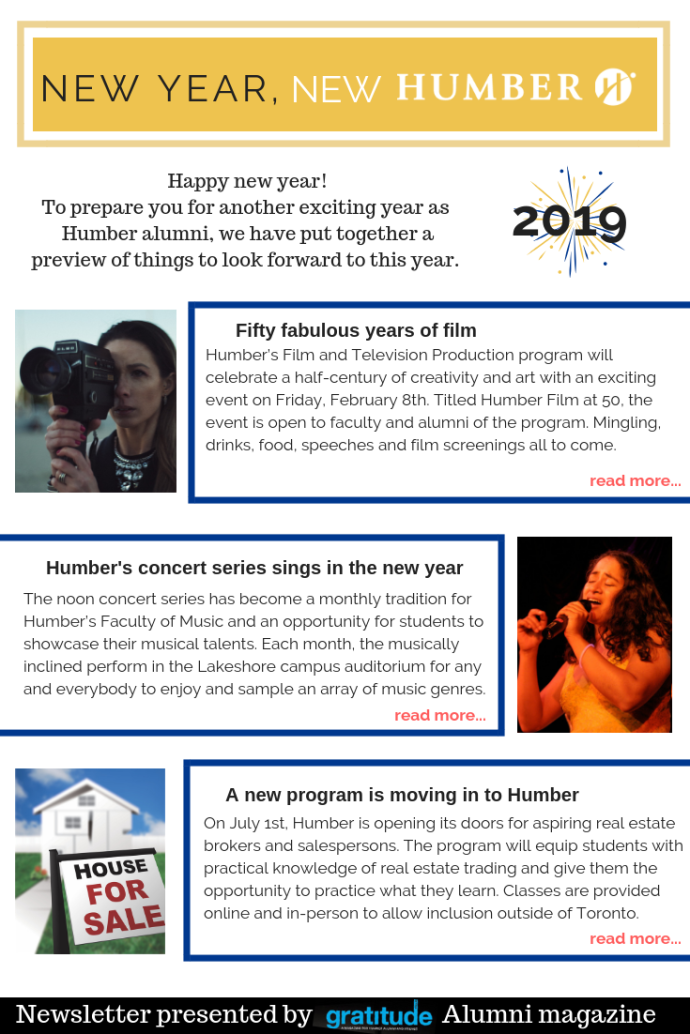 Newsletter example created in Humber's colours